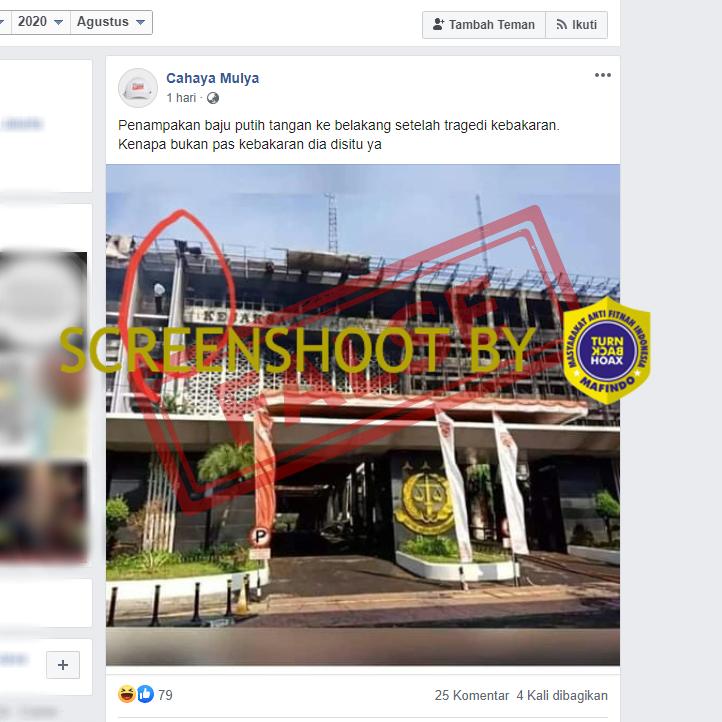 Tangkapan layar foto Facebook yang menggabarkan penampakan orang berbaju putih di gedung Kejagung setelah terbakar. (Foto: MP/turnbackhoax.id)