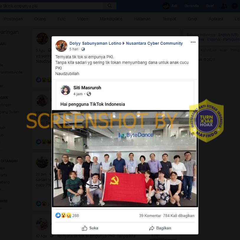 Tangkapan layar Facebook yang mengunggah bahwa TikTok dimiliki oleh PKI. (Foto: MP/turnbackhoax.id)
