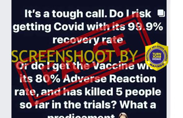 [HOAKS atau FAKTA]: Tak Perlu Vaksin, Tingkat Kesembuhan COVID-19 Capai 99 Persen