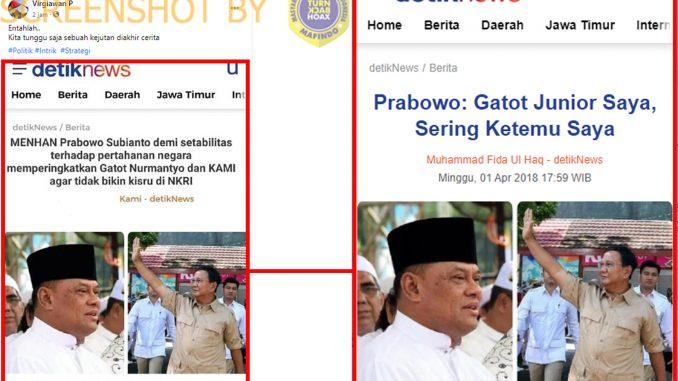 [HOAKS atau FAKTA]: Prabowo Minta Gatot Nurmantyo dan KAMI Jangan Bikin Kisruh Demi Pertahanan Negara