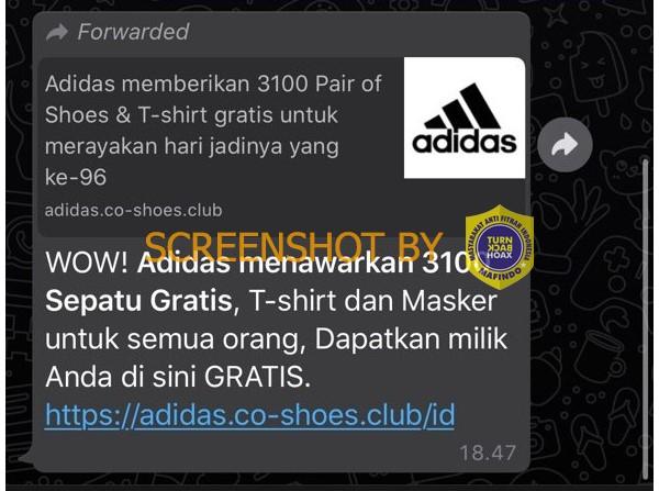 Tangkapan layar WhatsApp tentang Adidas membagi-bagikan hadiah. (Foto: MP/turnbackhoax.id)