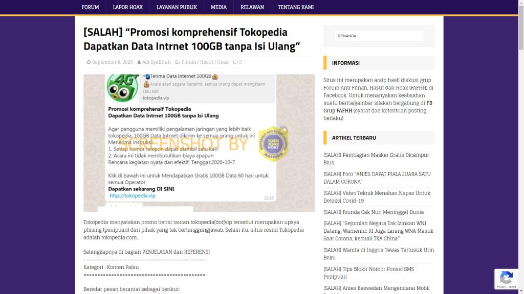 Salah Tokopedia Bagikan 200 Gb Data Internet Untuk Semua Operator Turnbackhoax