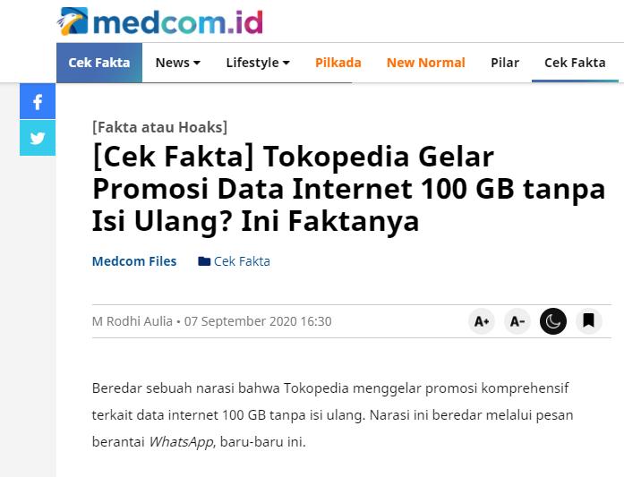 Salah Promosi Komprehensif Tokopedia Dapatkan Data Intrnet 100gb Tanpa Isi Ulang Turnbackhoax
