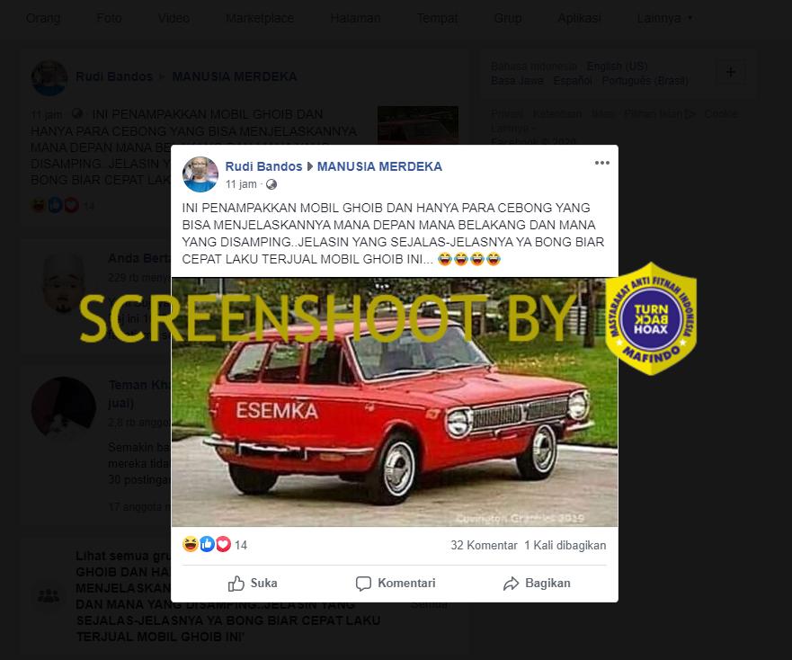 Unggahan Facebook terkait mobil Esemka tak berbentuk. (Foto: MP/turnbackhoax.id)