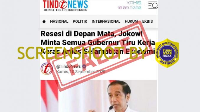 [HOAKS atau FAKTA]: Resesi di Depan Mata, Jokowi Minta Semua Gubernur Tiru Kerja Anies
