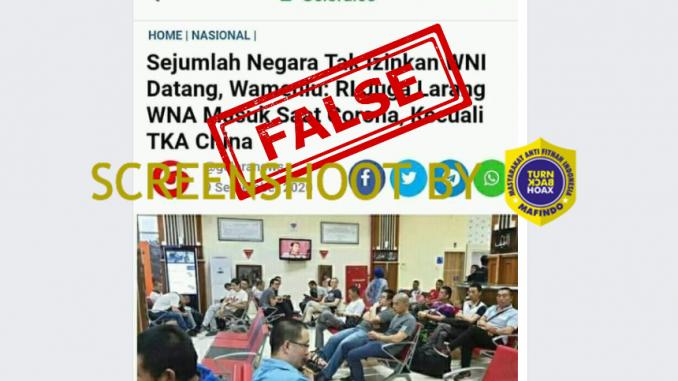 [HOAKS atau FAKTA]: Indonesia Larang Warga Negara Lain Masuk Kecuali TKA Tiongkok