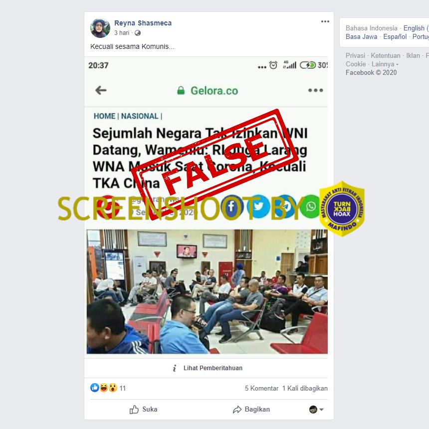 Tangkapan layar Facebook tentang hanya TKA Tiongkok yang dibolehkan masuk Indonesia. (Foto: MP/turbackhoax.id)