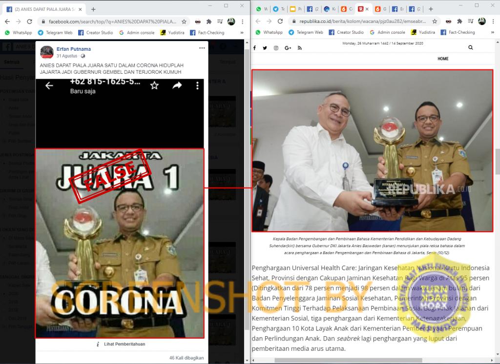 Tangkapan layar Facebook terkait Anies juara 1 corona. (Foto: MP/turnbackhoax.id)