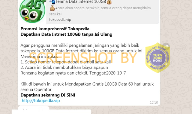 """[SALAH] """"Promosi komprehensif Tokopedia Dapatkan Data Intrnet 100GB tanpa Isi Ulang"""""""