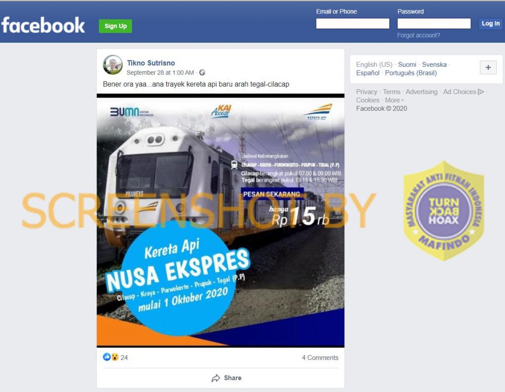 Tangkapan layar Facebook terkait kereta Cilacap-Tegal. (Foto: MP/turnbackhoax.id)