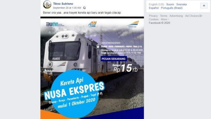 [HOAKS ATAU FAKTA]: Mulai 1 Oktober Nusa Ekspres Rute Cilacap-Tegal Beroperasi