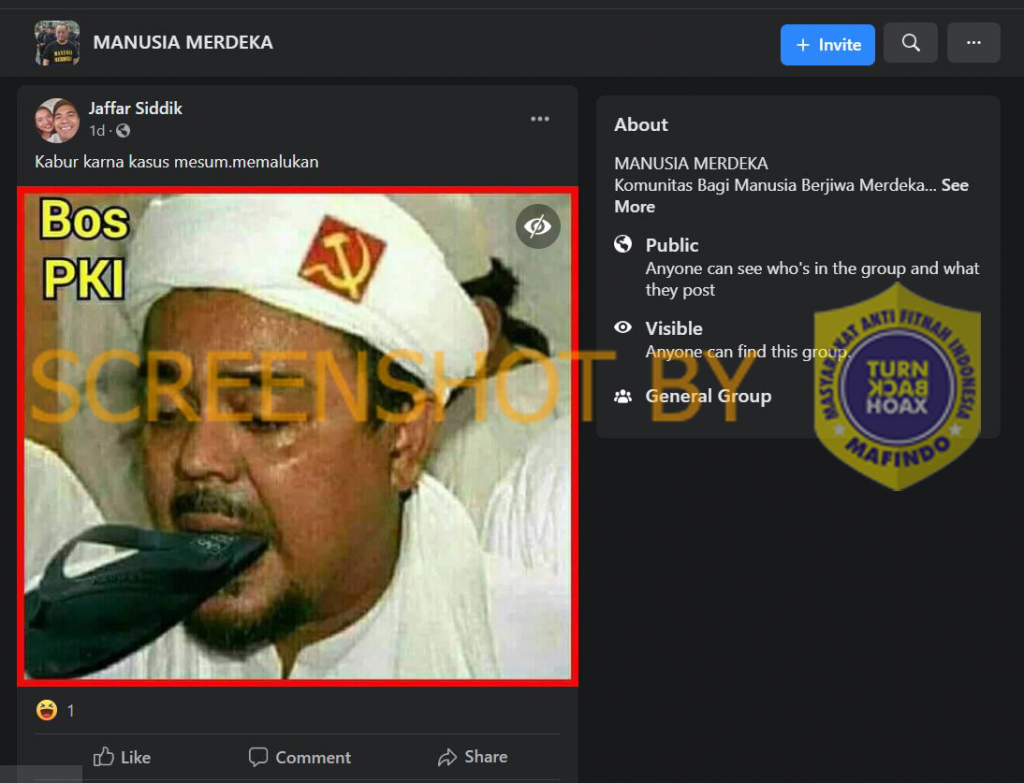Tangkapan layar Habib Rizieq dengan lambang palu arit. (Foto: MP/Turnbackhoax.id)