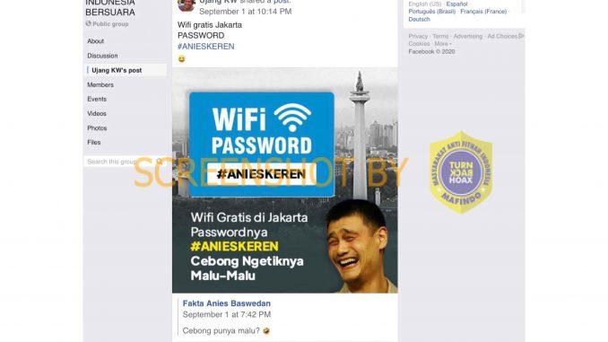 [HOAKS atau FAKTA]: Password Wifi Gratis di Jakarta #ANIESKEREN