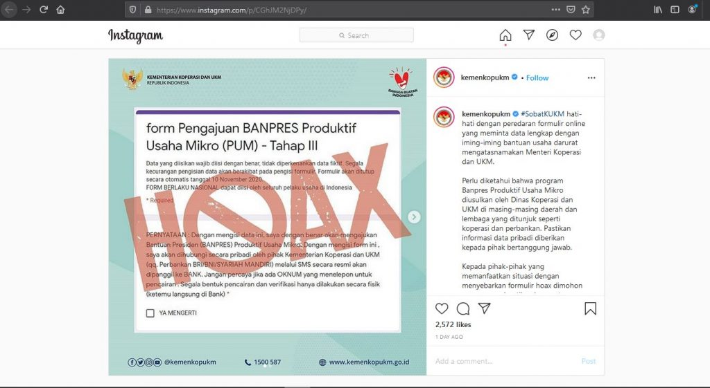 SALAH Situs Formulir Online BANPRES oleh Kementrian ...