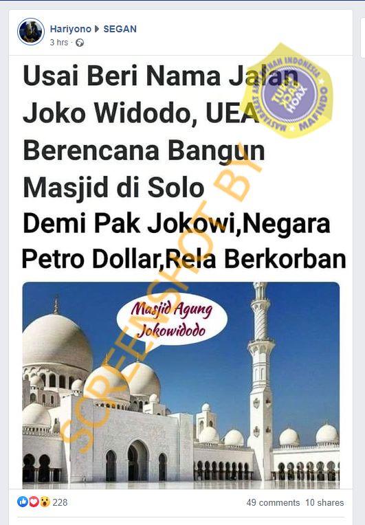 Tangkapan layar Facebook terkait kabar UEA bakal bangun masjid di Kota Solo. (Foto: MP/turnbackhoax.id)
