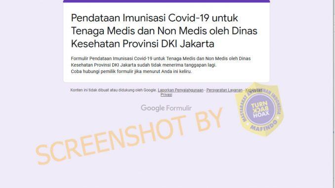 [HOAKS atau FAKTA]: Pemprov DKI Buka Formulir Pendaftaran Imunisasi COVID-19