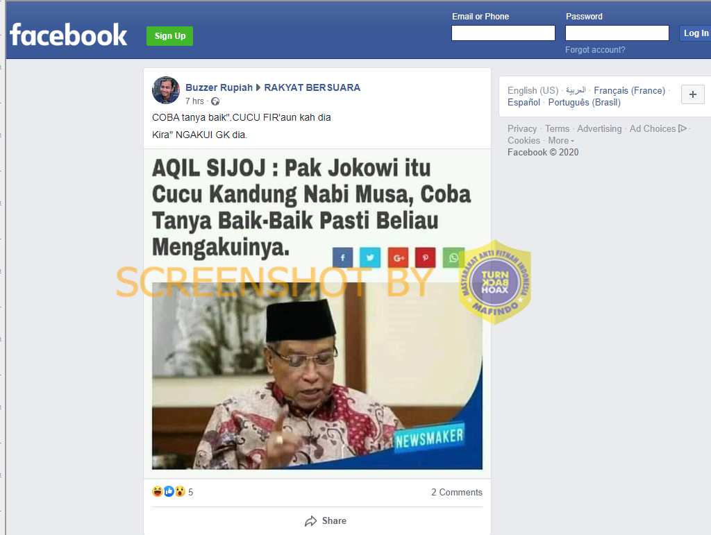 Tangkapan layar Facebook terkait Aqil Siradj sebut Jokowi cucu Nabi Musa. (Foto: MP/turnbackhoax.id)