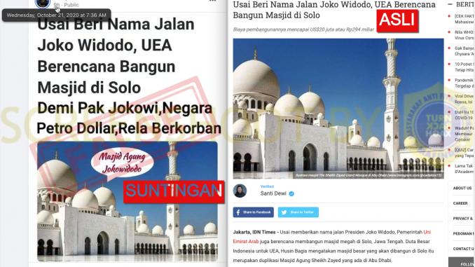 [HOAKS ATAU FAKTA]: Demi Jokowi, Uni Emirat Arab Bakal Bangun Masjid di Solo