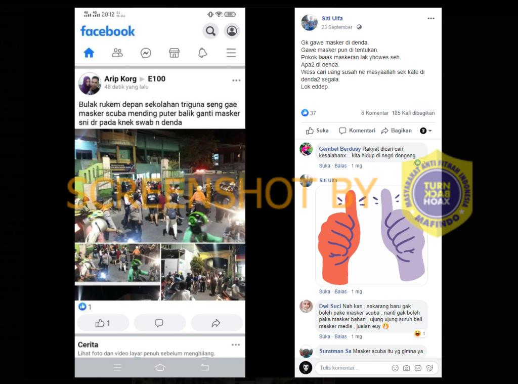 Tangkapan layar Facebook terkait razia masker scuba di Surabaya. (Foto: MP/Turnbackhoax.id)