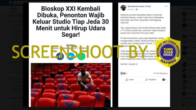 [HOAKS atau FAKTA]: Bioskop XXI Kembali Dibuka, Penonton Wajib Keluar Studio Tiap 30 Menit