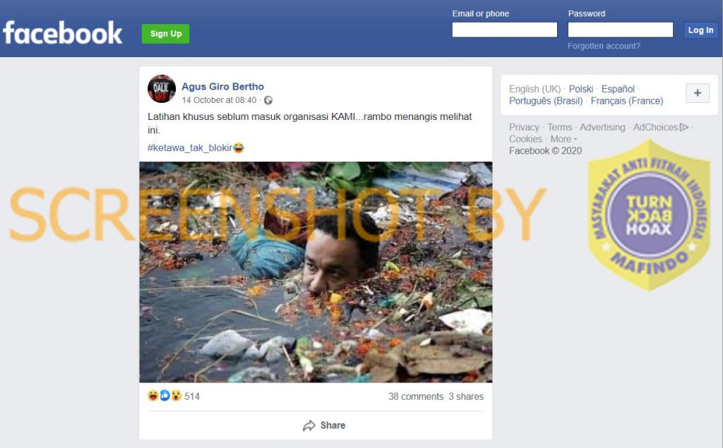 Tangkapan layar gambar mirip Anies Baswedan berendam di sungai sampah. (Foto: MP/turnbackhoax.id)