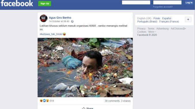 [HOAKS atau FAKTA]: Viral Orang Mirip Anies Berendam di Sungai Sampah