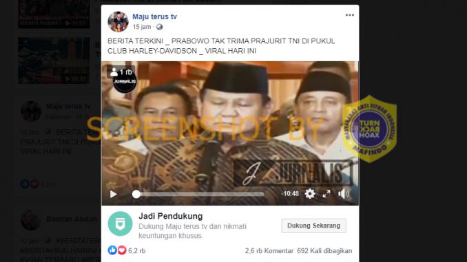 [HOAKS atau FAKTA]: Prabowo Tak Terima Anggota TNI Dikeroyok Klub Motor Besar