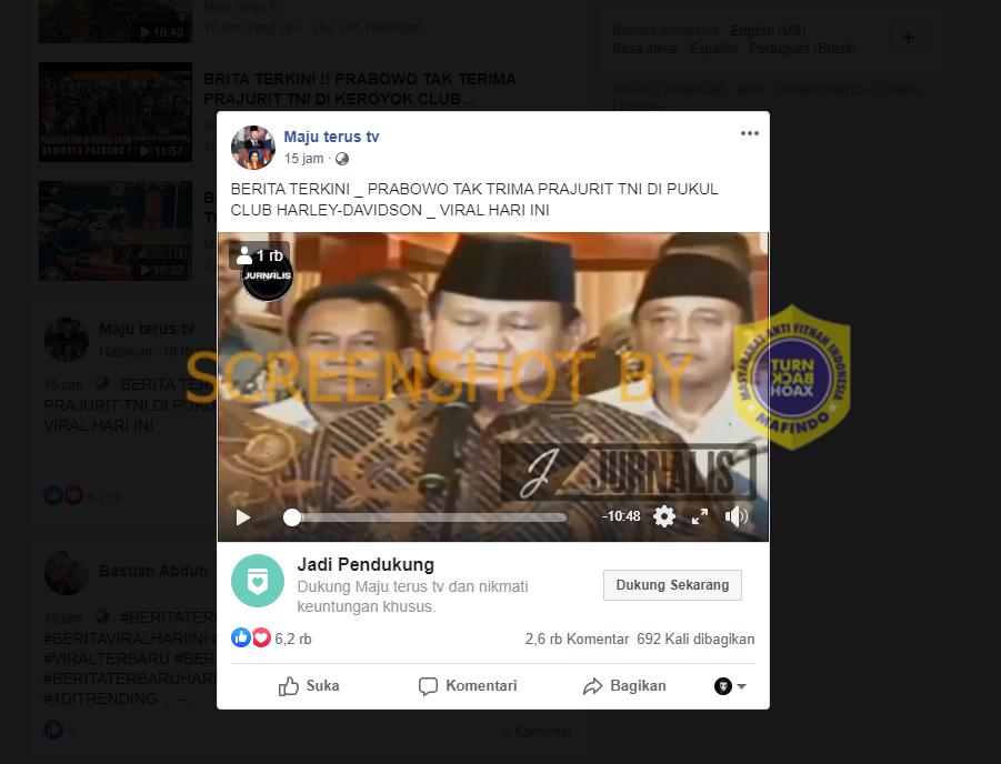 Tangkapan layar Facebook soal Prabowo marah terkait pengeroyokan TNI oleh klub motor moge. (Foto: MP/turnbackhoax.id)