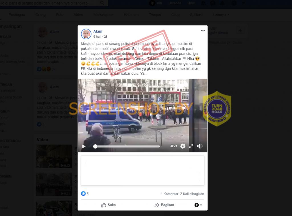 Tangkapan layar Facebook tentang polisi Paris menyerang masjid dan menanggap para jamaah. (Foto: MP/turnbachoax.id)