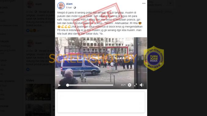 [HOAKS atau FAKTA]: Masjid di Prancis Diserang Polisi dan Jamaahnya Ditangkap