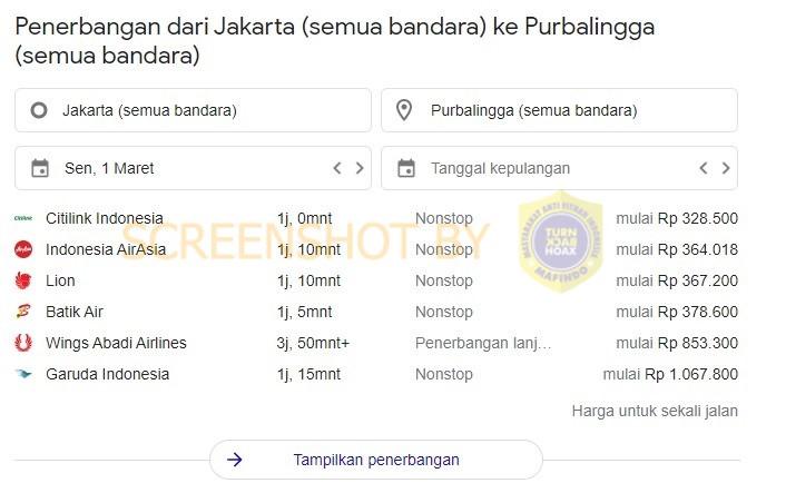 Salah Daftar Harga Tiket Pesawat Ke Bandara Di Purbalingga Turnbackhoax