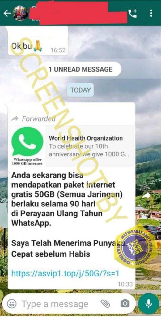 Salah Tawaran Kuota Gratis 50gb Di Perayaan Ulang Tahun Whatsapp Turnbackhoax Id