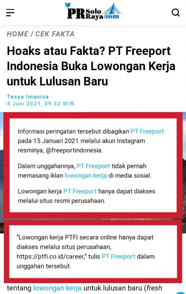 Salah Lowongan Pekerjaan Di Pt Freeport Indonesia Turnbackhoax Id